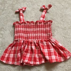 Red gingham smocked top